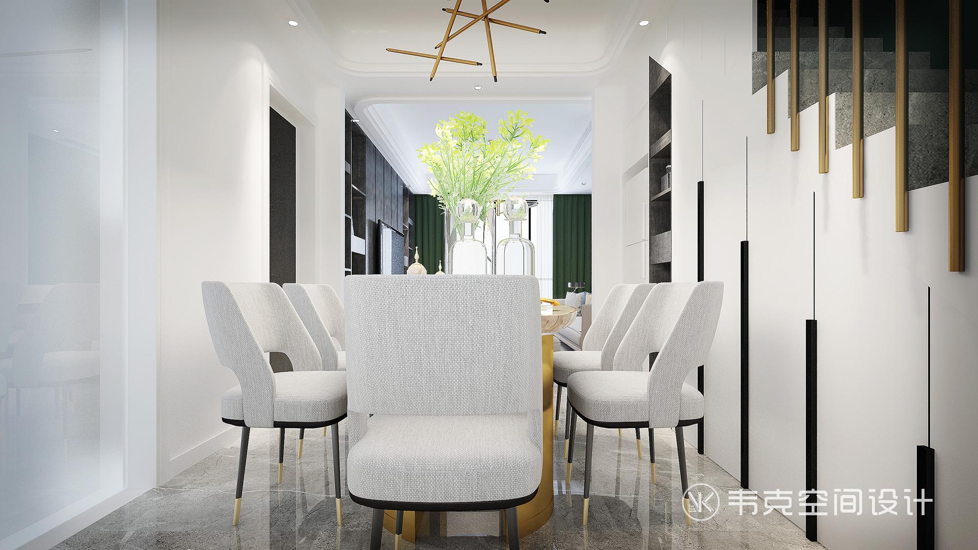 三居 餐厅图片来自韦克空间设计在轻奢三居,一饰精致,满室风雅的分享