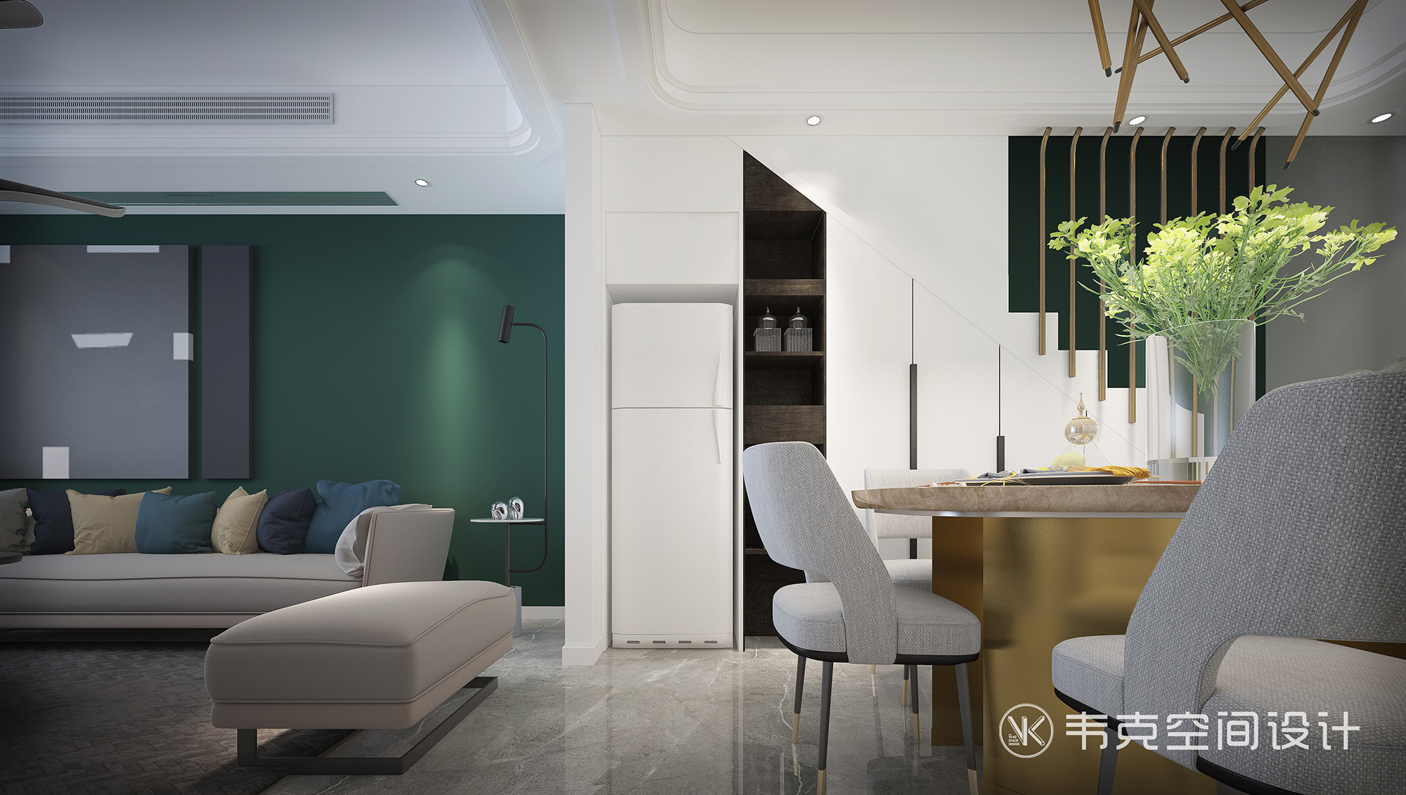 三居 楼梯图片来自韦克空间设计在轻奢三居,一饰精致,满室风雅的分享