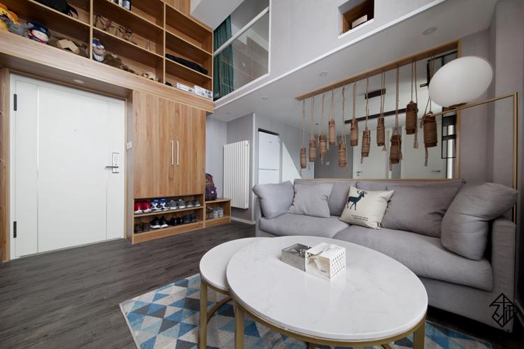 久栖设计 紫御国际 复式 北欧 日式 室内设计 储物收纳 收纳 客厅图片来自久栖设计在久栖作品紫御长安丨魔方小复式的分享