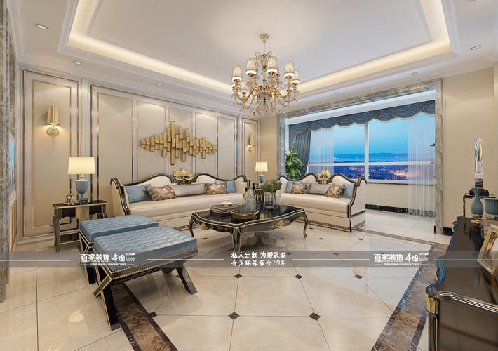 客厅图片来自沈阳百家装饰小姜在百家装饰九州御府200平欧式风格的分享