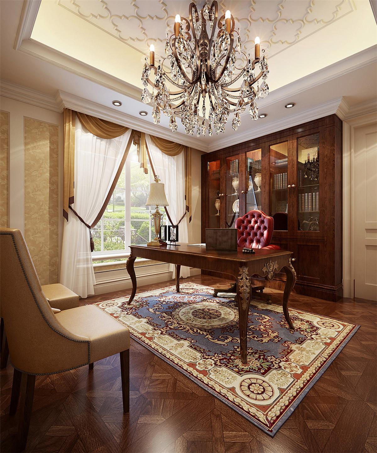 汤臣高尔夫 别墅装修 欧式古典 腾龙设计 书房图片来自孔继民在汤臣高尔夫700平别墅欧式古典的分享