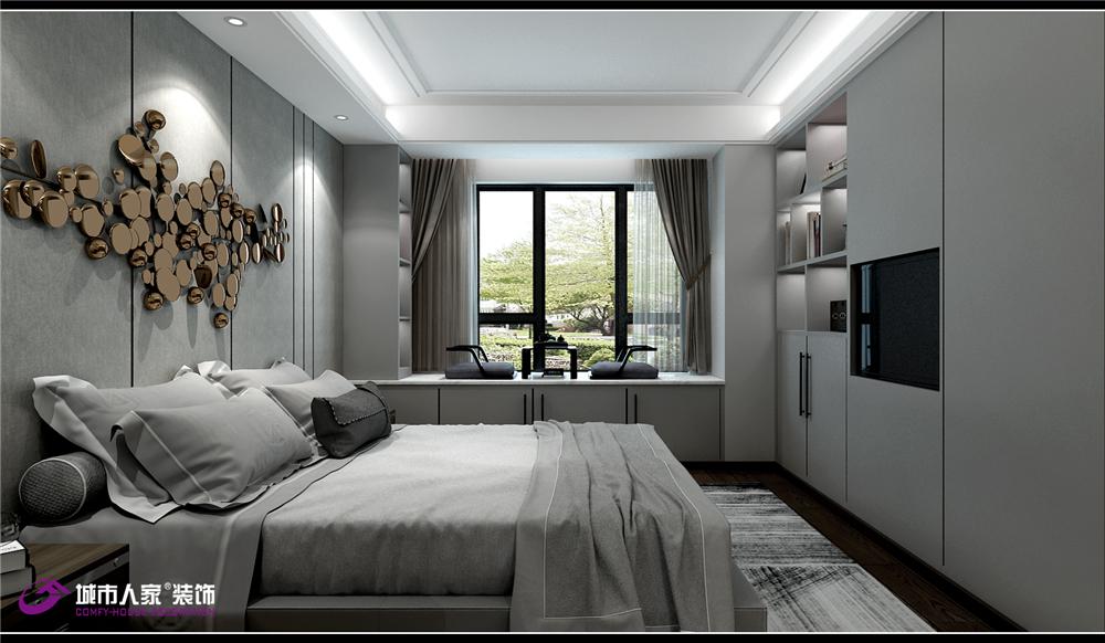 简约 卧室图片来自济南城市人家装修公司-在财富壹号装修轻奢风格设计效果图的分享