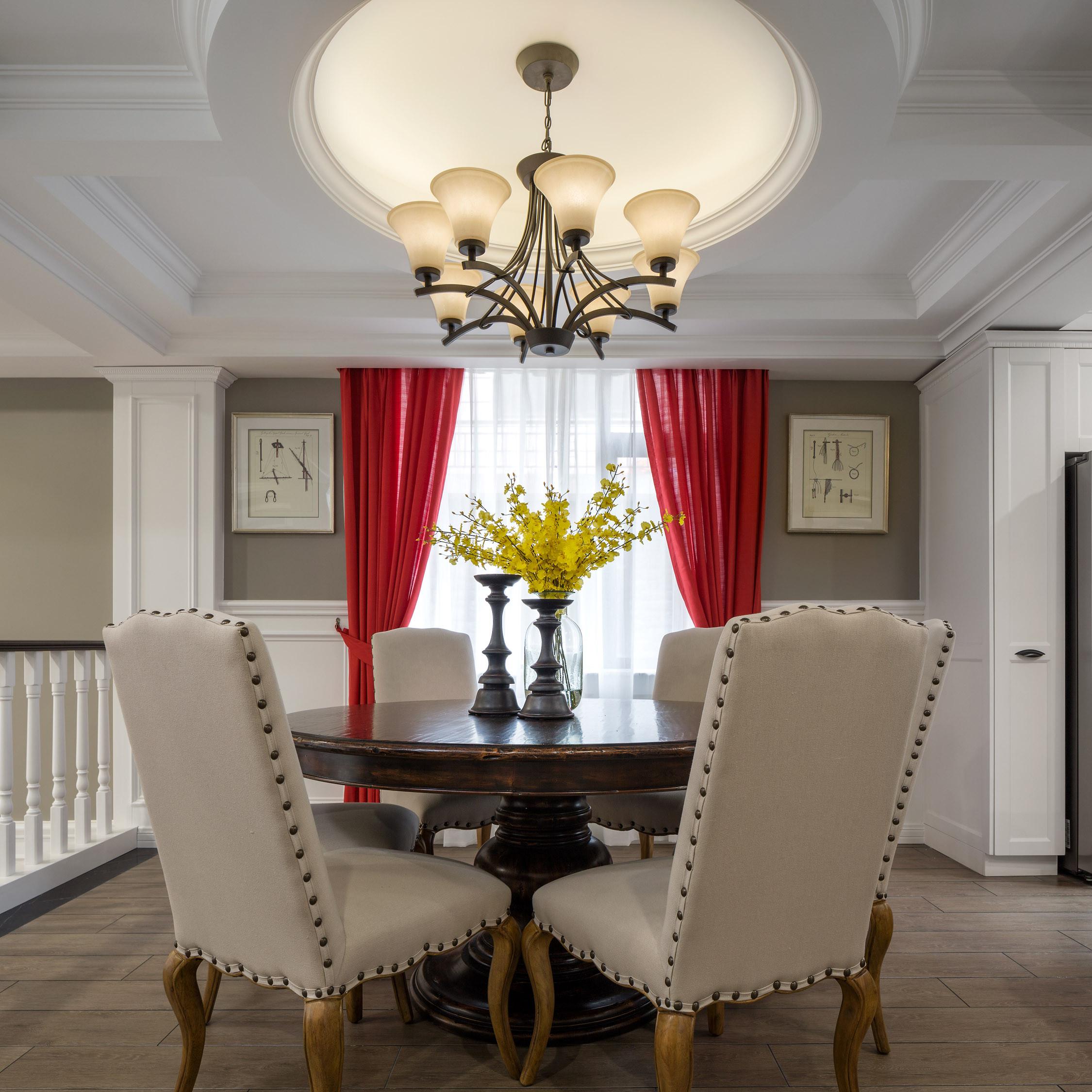 中科大学城 别墅装修 欧美风格 别墅设计师 餐厅图片来自腾龙设计在美式风格别墅装修完工实景的分享