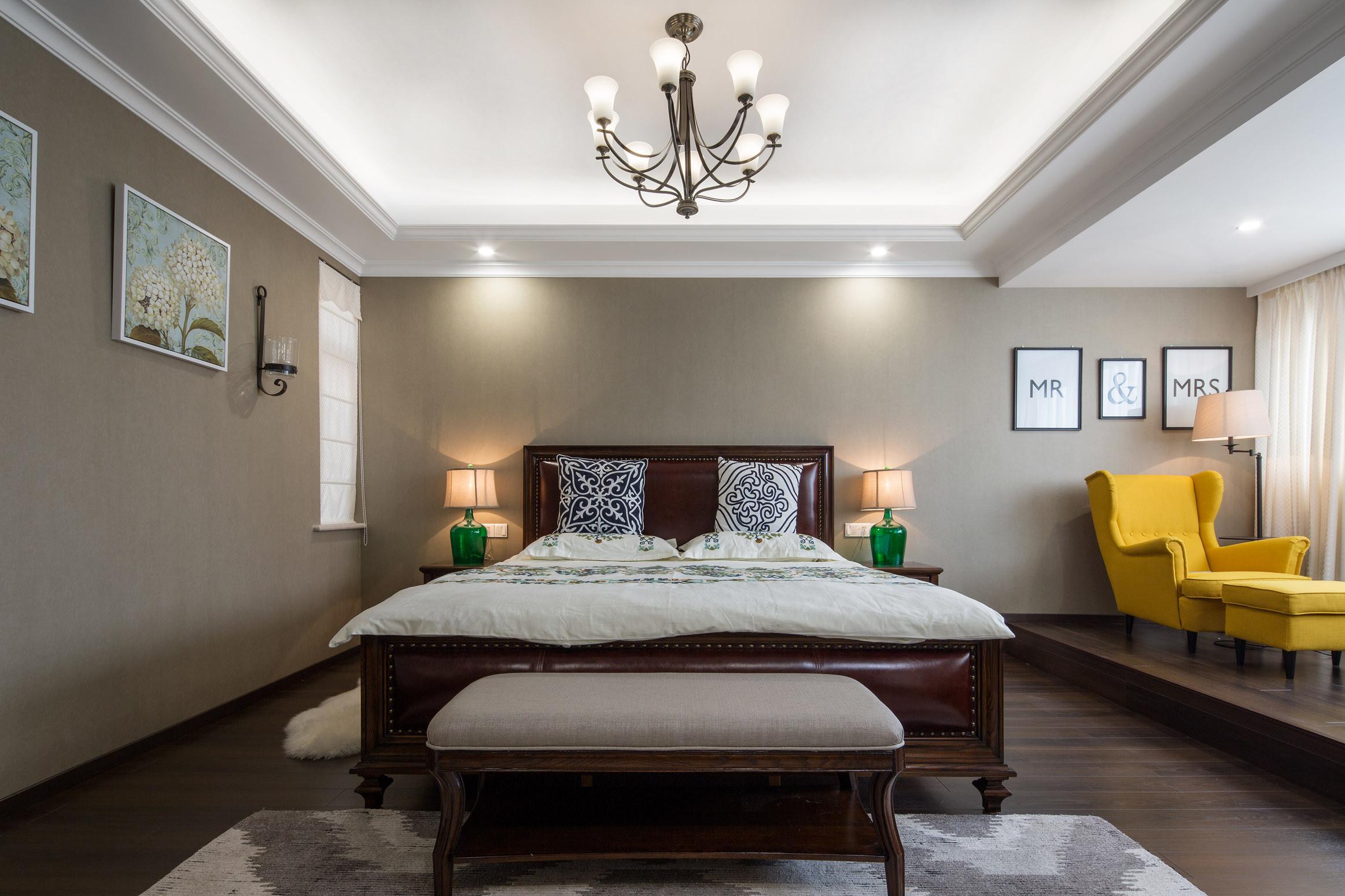中科大学城 别墅装修 欧美风格 别墅设计师 卧室图片来自腾龙设计在美式风格别墅装修完工实景的分享