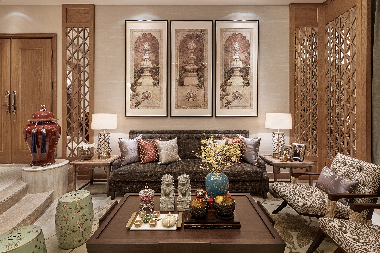 泗泾颐景园 别墅装修 中式风格 别墅设计师 客厅图片来自腾龙设计在中式风格别墅设计案例展示的分享