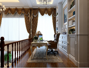 欧式 复式 新房装修 书房图片来自乐粉_20181003112538352在保利溪湖洋房复式案例的分享