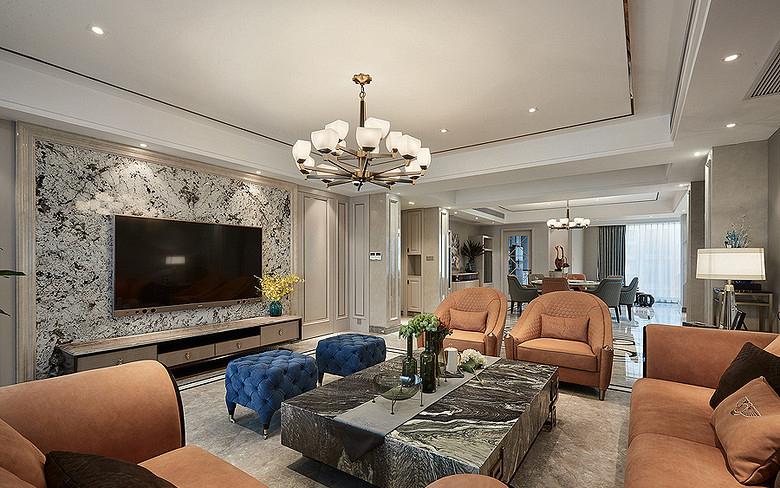 客厅图片来自家装大管家在都市新贵 190平轻奢后现代4居室的分享