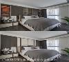 隐藏收纳 为了不使床头上方大梁影响睡眠品质,床头背板特别设计为隐藏拉门,并利用梁下规划收纳空间。