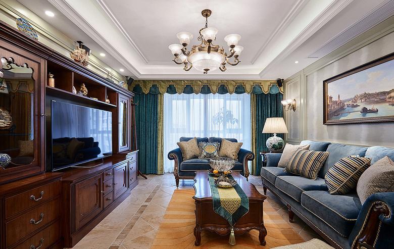客厅图片来自家装大管家在158平美式低奢3居 实用艺术并存的分享