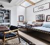 铭淳茶室  以原木材质搭配淡雅蓝,在各式花鸟画作与陶瓷茶具等装点下,满足屋主对中式茗茶的喜好。