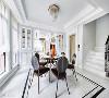 细节讲究  以简洁明确的线条打造天花板与柜架,在色彩清雅的家俱陪衬下,打造醇厚美式用餐空间。