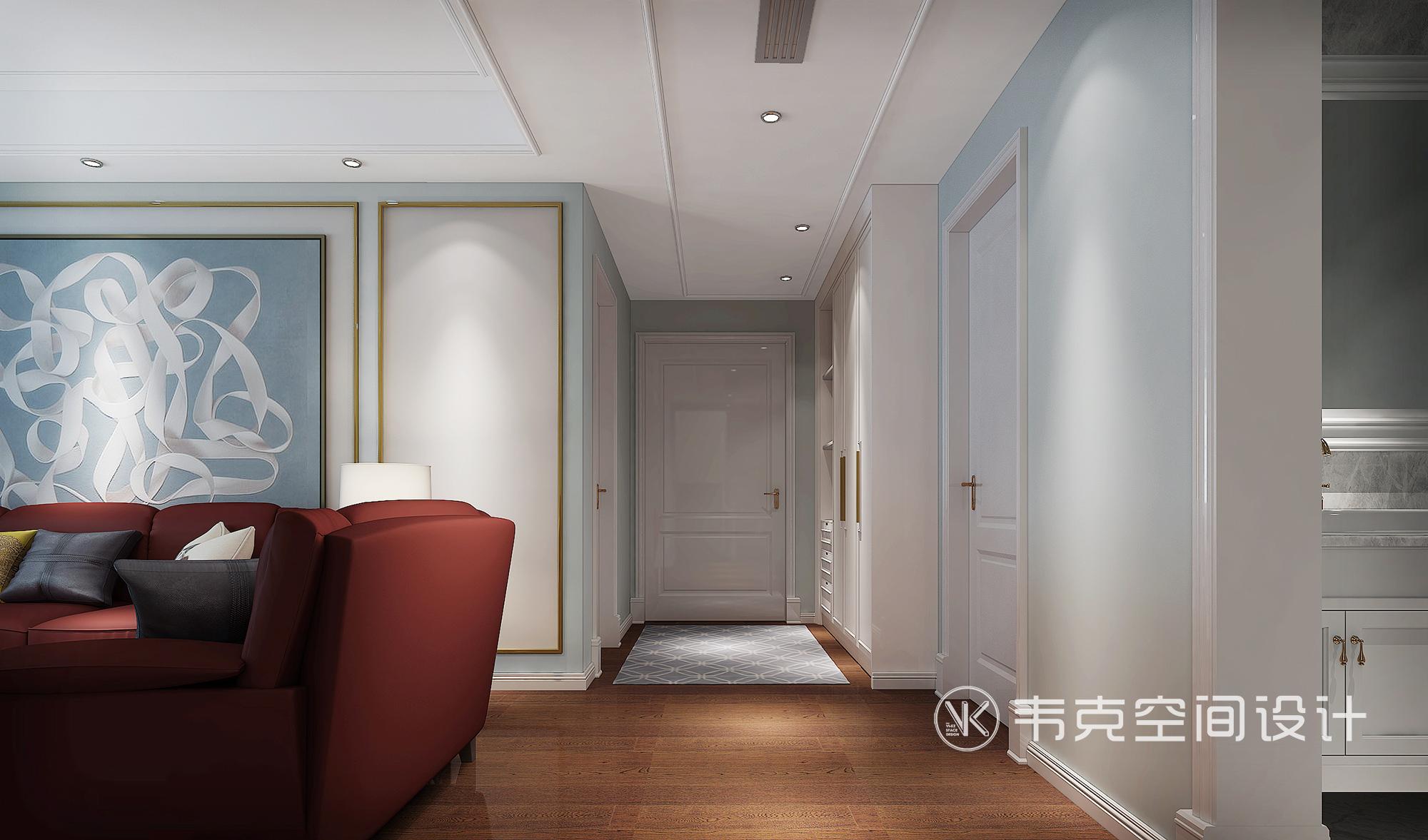休闲美式 顶带阁 玄关图片来自韦克空间设计在诗意小美式,自然而然的生活态度的分享