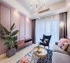 粉色的墙是这款灰色粉色装修效果图中最美丽的风景,地面是灰色的强化复合木地板铺装设计,没有特别丰富多彩的内容,但是搭配一条灰色柔软的地毯,为客厅一隅带来温暖的气息和优雅的气质。