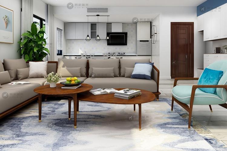 客厅 实木家具 北欧乌金木图片来自浙江阿家咪米在北欧乌金木家具装修效果图的分享
