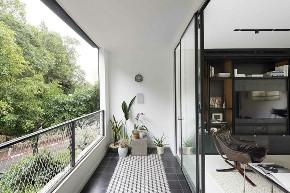现代 黑色 简约 别墅 联排 半包 全案设计 全包 阳台图片来自鹏友百年装饰在高级黑的家,到底有多酷!的分享