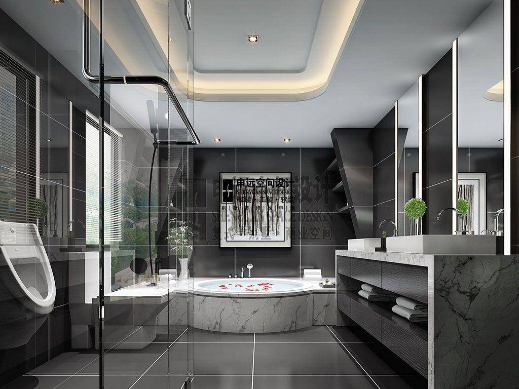 简约 别墅 现代 卫生间图片来自申远空间设计北京分公司在别墅装修设计-现代风格的分享
