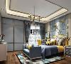 儿童房以蓝色为主搭配金色金属元素来表达空间活泼的效果,背景墙的软包更柔滑了空间,。