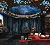 影音室: 墙面运用蓝色调的吸音板,顶面运用大面积的茶镜,配上深红色的沙发,整体对比感强烈。
