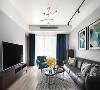 客厅选用的是偏深的胡桃木系,配上金属质感的细节,通过脚和拉手材质,来突出家具的精致感。窗帘选择了缥缈神秘的高级蓝色,为空间添上一丝梦幻般的感觉。