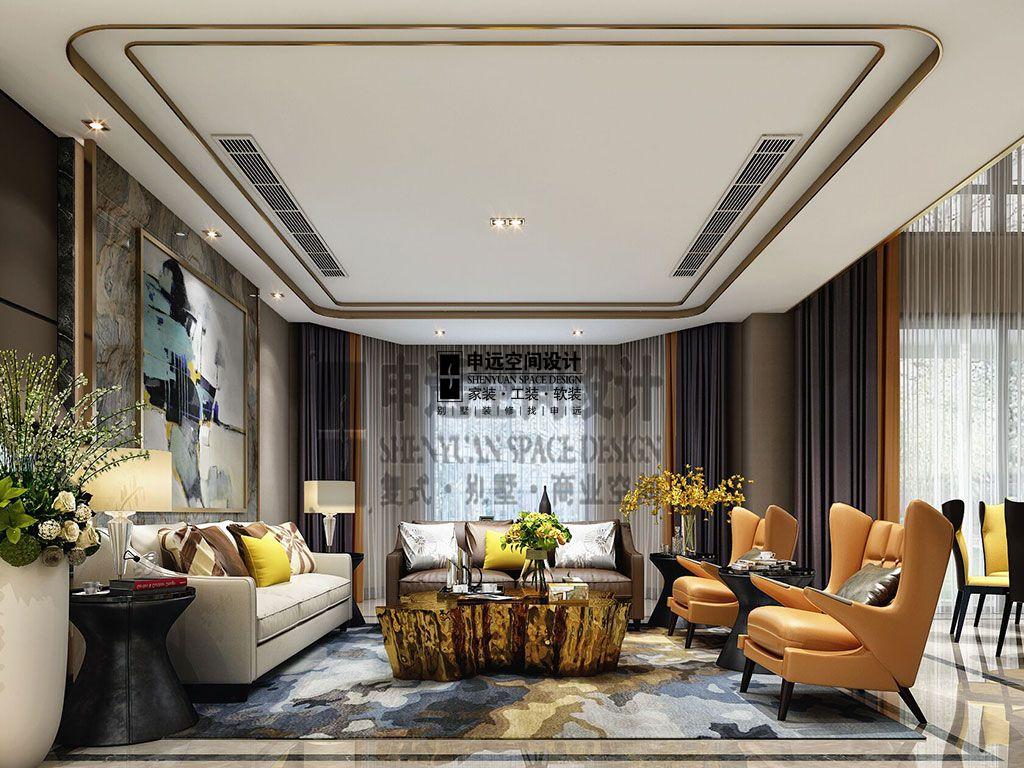 简约 别墅 现代 客厅图片来自申远空间设计北京分公司在别墅装修设计-现代风格的分享