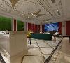 影音室的面积十分宽阔,电影幕布后红色墙体的设计,与白色幕布形成强烈反差,将两面墙体设置成绿植的背景,完美的中和,沙发后面的酒柜,想象在璀璨水晶灯下,饮着红酒,贵族般的享受。