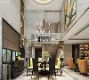 餐厅运用整体挑空的设计,四面墙体都以爵士白的大理石作为背景,配上柠檬黄的餐桌和挂画,使空间产生强大的对比感。