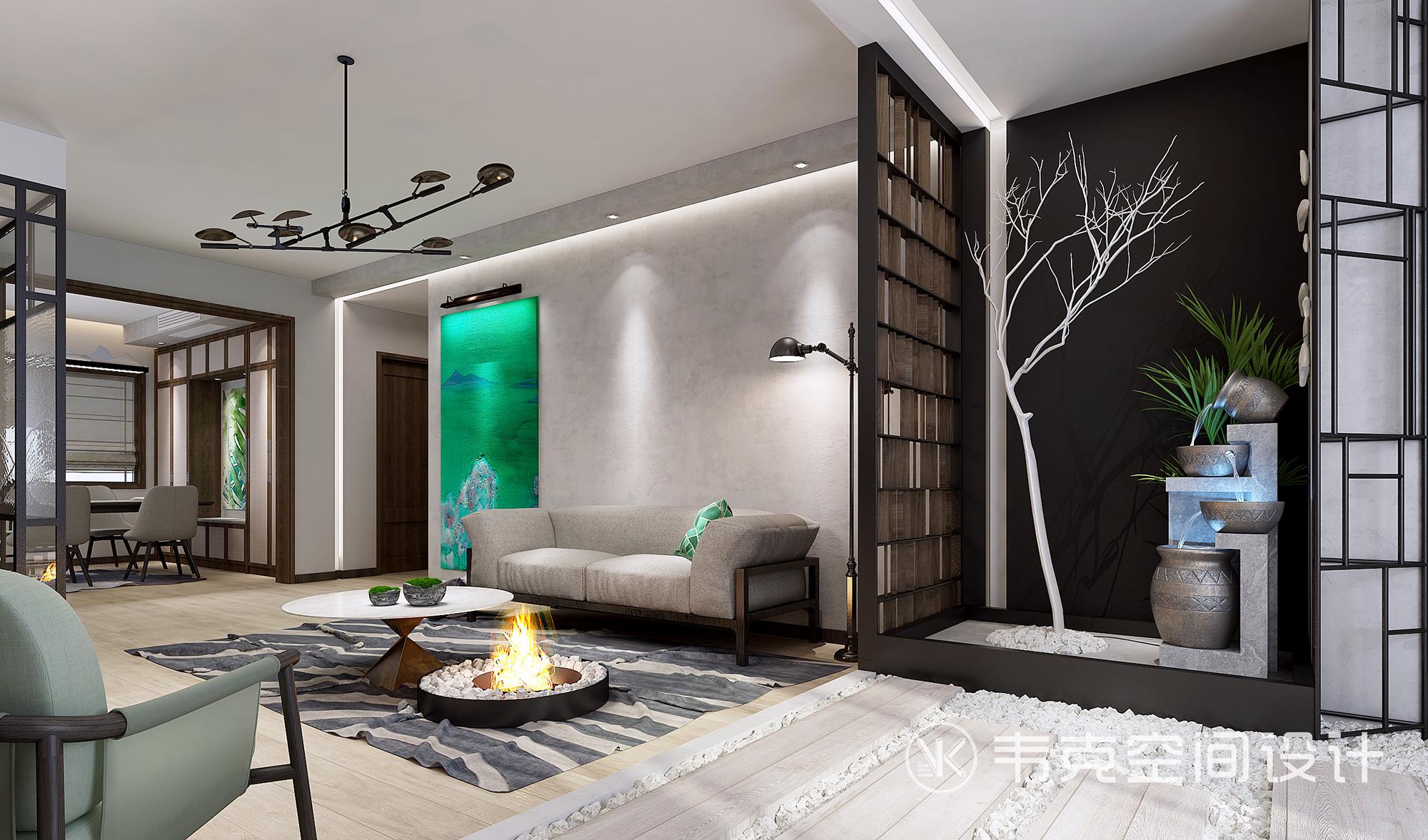 客厅图片来自韦克空间设计在品味从容,写意的时光填满生活的分享