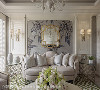 沙发背墙 沙发背墙运用花卉壁布作浪漫基底,以衬托壁面的复古镜,与左右对称的线板雕花造型形塑典雅的法式居所。