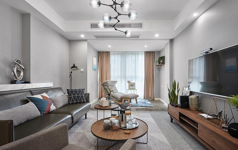 客厅图片来自家装大管家在100平现代北欧3居 简单的才是家的分享