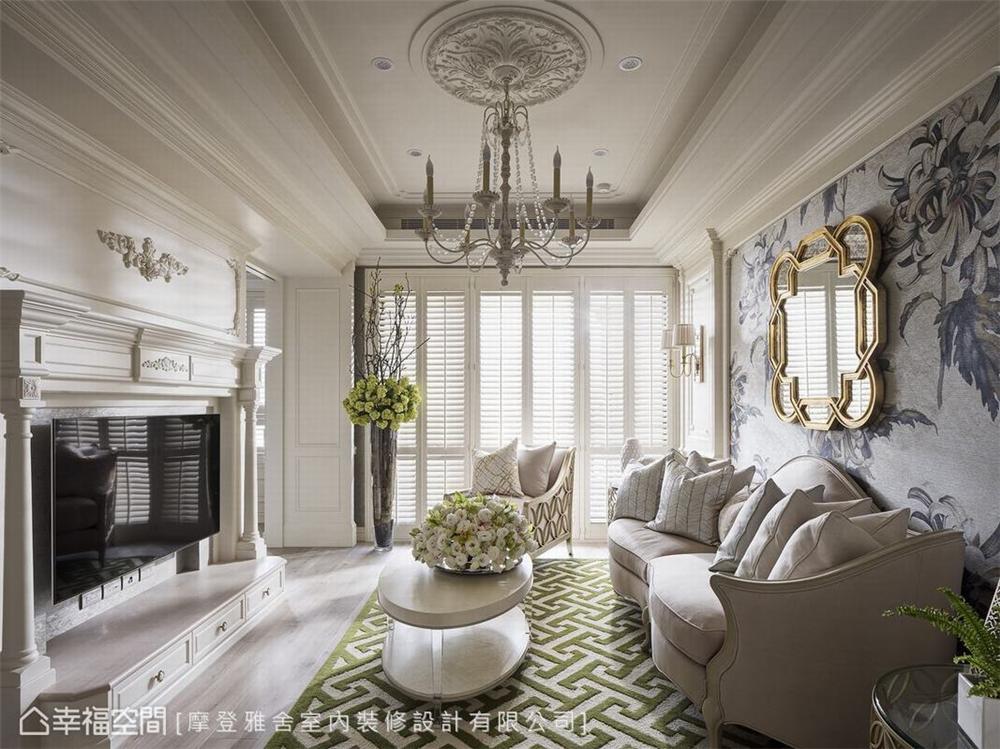 装修设计 装修完成 精品宅 新古典 客厅图片来自幸福空间在93平,复古风巴黎时尚 精品宅的分享
