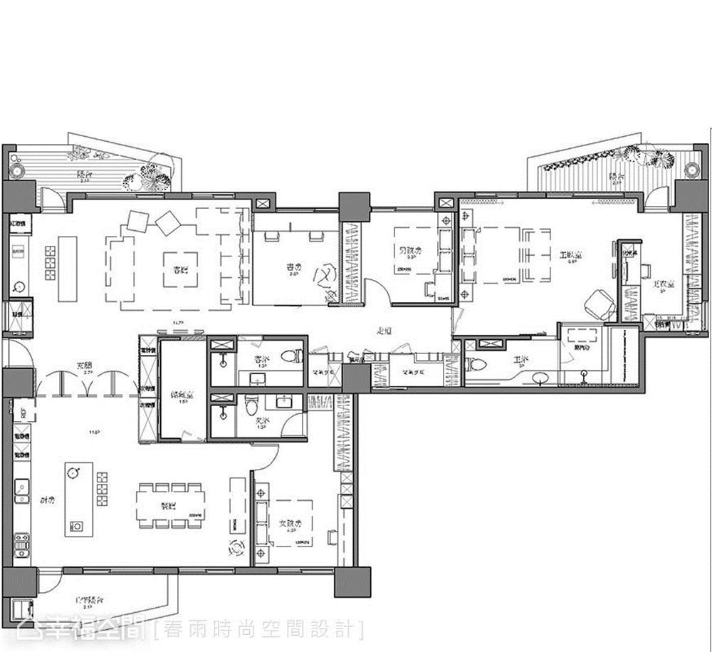 户型图图片来自幸福空间在198平,巧妙构思 客变规划三拼宅的分享