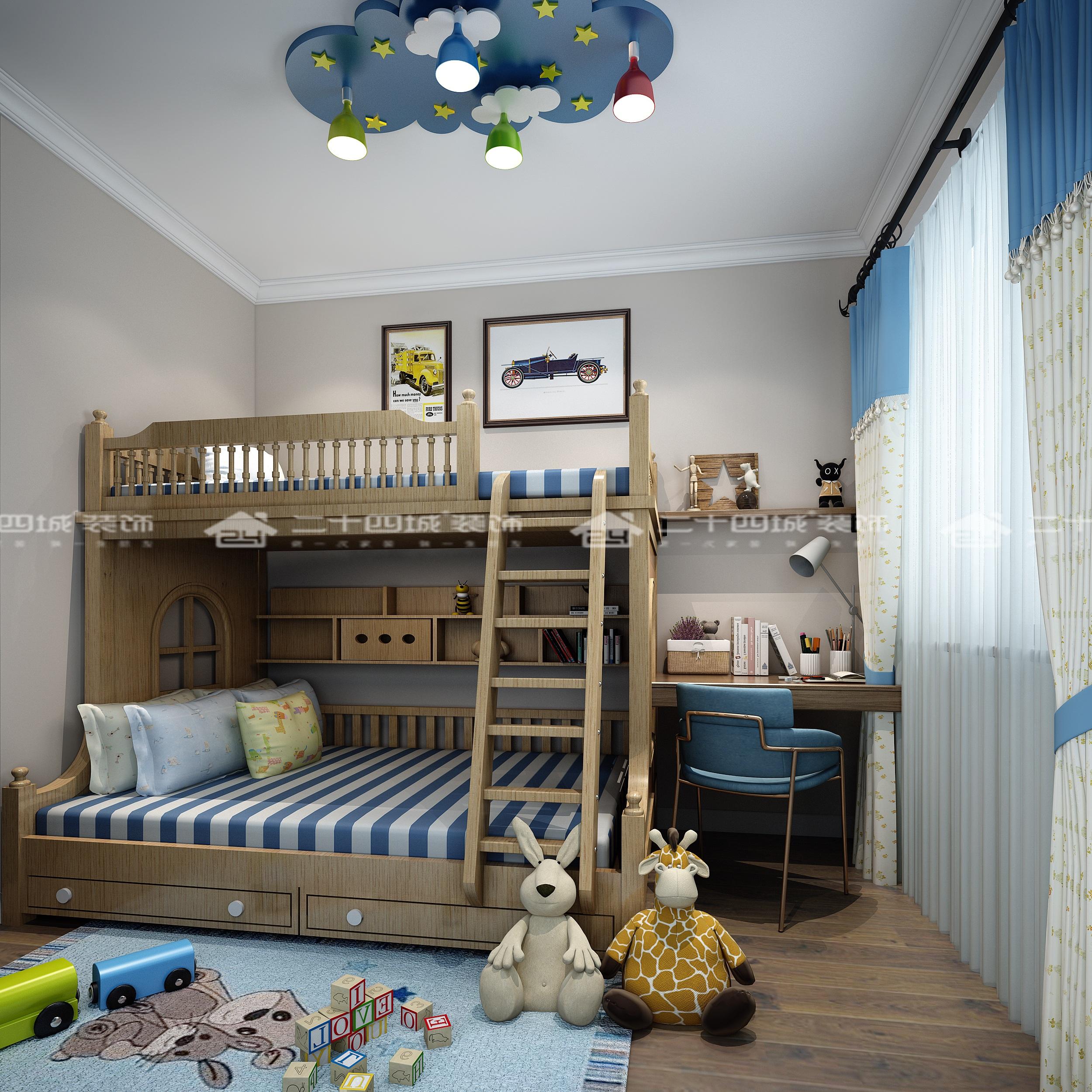 现代轻奢 轻奢法式 混搭 未来家 白领 小资 温馨 舒适 收纳 儿童房图片来自二十四城装饰(集团)昆明公司在蓝光·林肯公园  现代轻奢法式的分享