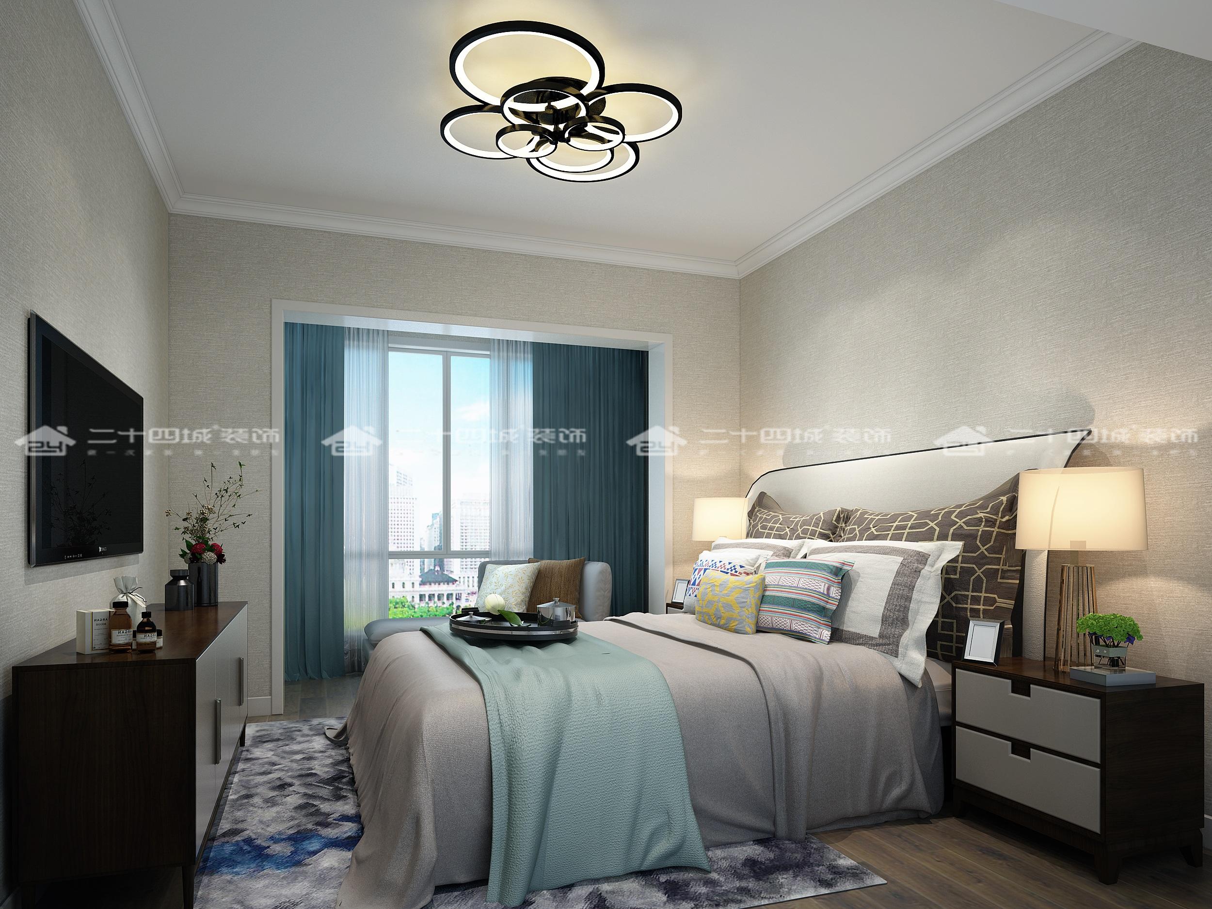 现代轻奢 轻奢法式 混搭 未来家 白领 小资 温馨 舒适 收纳 卧室图片来自二十四城装饰(集团)昆明公司在蓝光·林肯公园  现代轻奢法式的分享
