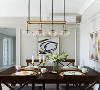 入户后即见餐厅,奶咖灰乳胶漆墙面搭配写意与现代感并存的装饰画,金属质感吊灯与深木色餐桌椅,别致兼实用的就餐区域