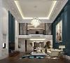 一楼客厅区域保留原始挑高,与二楼休闲空间形成互动。以深蓝色为主色调的空间,通过简单的造型线条打造艺术空间。玻璃,实木,石膏,石材,不同的材质在对比中呈现不同的韵味,让空间层次变化丰富多彩。