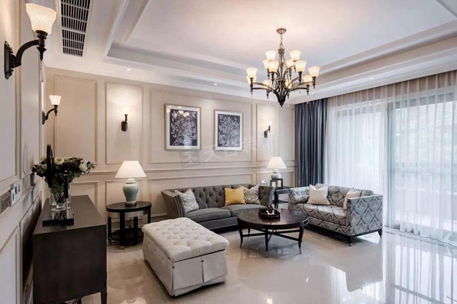 简美风格 别墅设计 天古装饰 效果图 马健 客厅图片来自重庆天古装饰公司在中铁山语城别墅简美风装修效果图的分享
