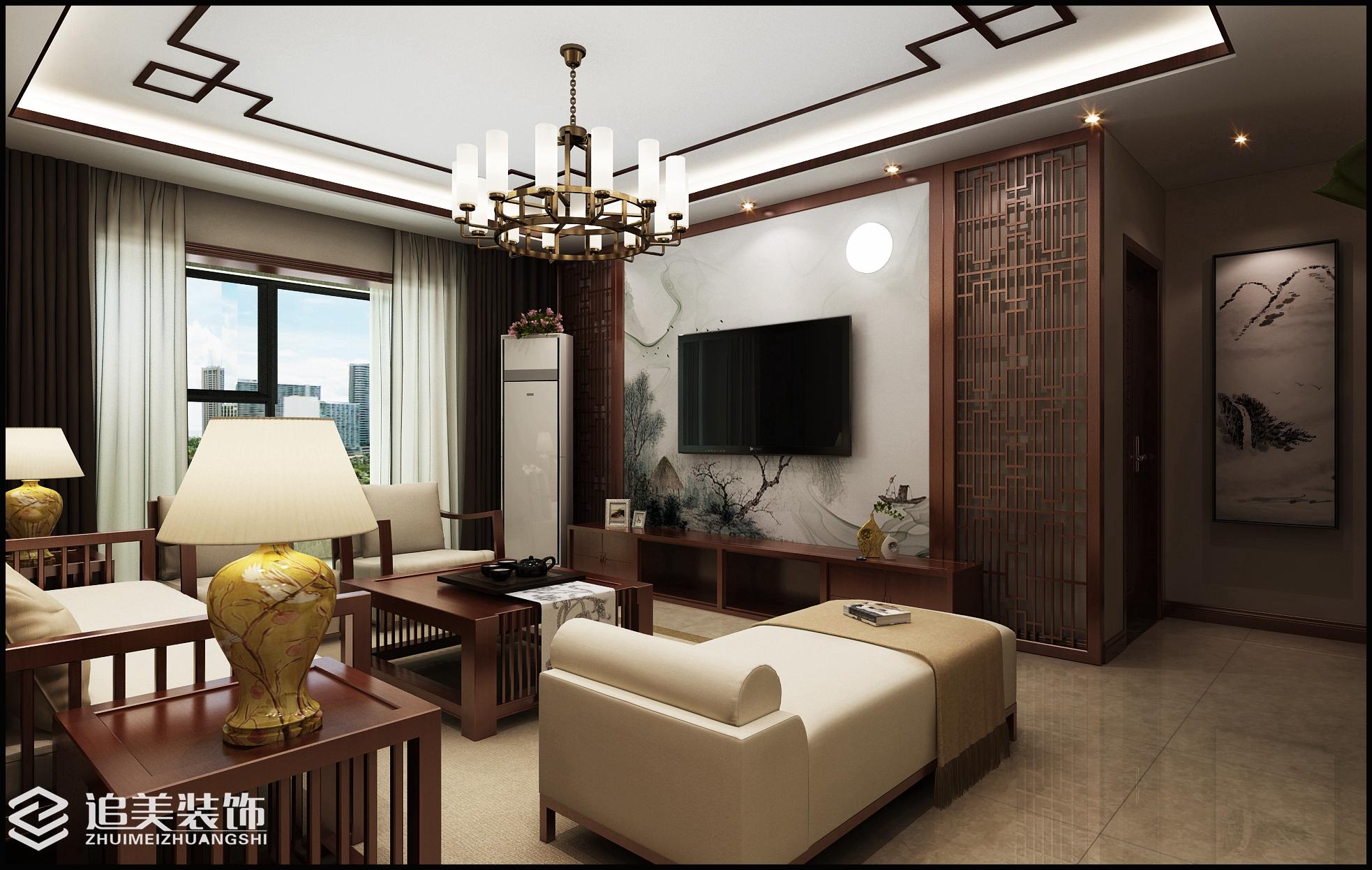 三居 收纳 中式 世纪王城 客厅图片来自河南追美装饰在世纪王城143㎡新中式风格的分享