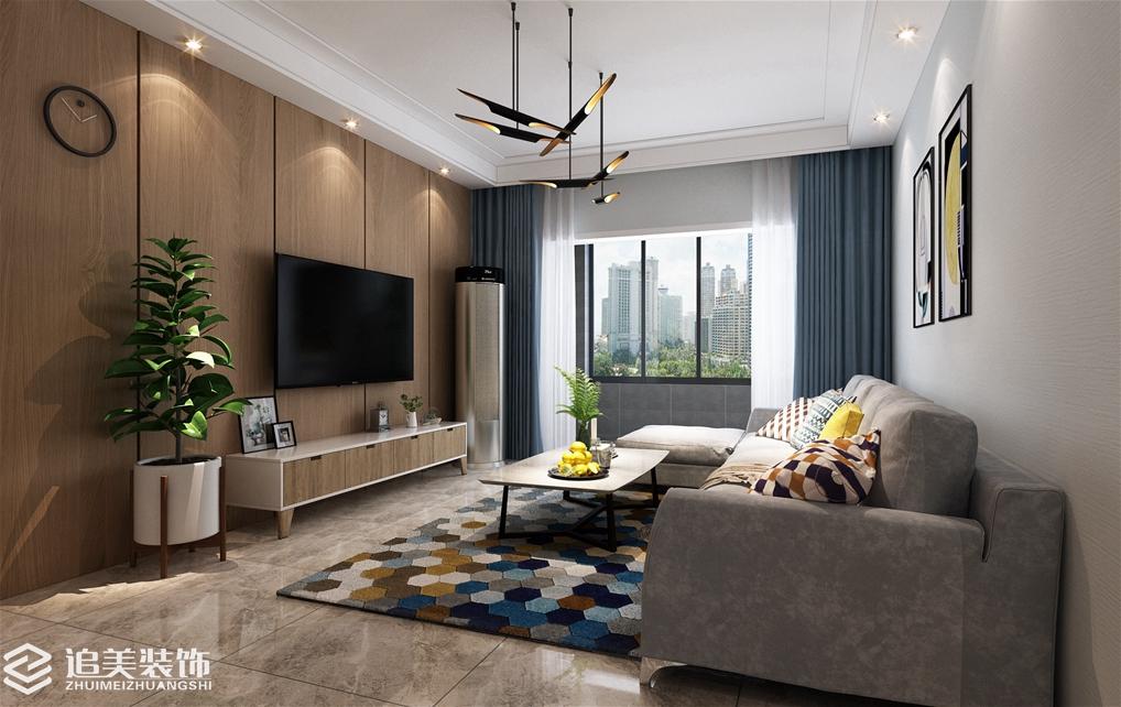 客厅图片来自河南追美装饰在繁华城128㎡后现代风格的分享