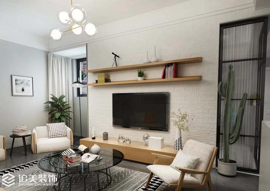 二居 小资 客厅图片来自河南追美装饰在名门万象89㎡纯净、温暖简约风的分享