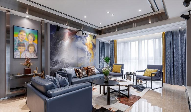 客厅图片来自家装大管家在轻奢淡雅 127平现代雅致时尚3居的分享