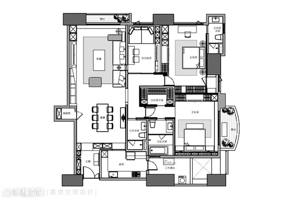 装修设计 装修完成 多元风格 户型图图片来自幸福空间在188平, 开阔的双动线退休美宅的分享