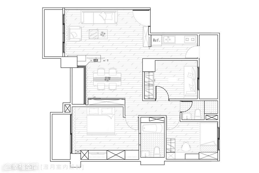 装修设计 装修完成 工业风 户型图图片来自幸福空间在83平, 温馨的工业风个性宅的分享