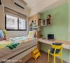 孩房 针对孩房的设计,吴宜伦设计师希望能一反过去经验,依小孩生活形态进行规划,并以薄荷绿为主色带出活泼的气息。