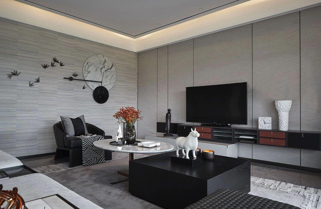 客厅图片来自鹏友百年装饰在质感大平层,彰显尊贵与高雅!的分享