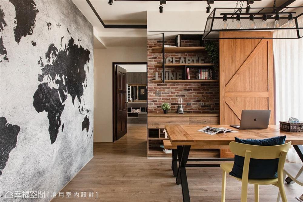 装修设计 装修完成 工业风 餐厅图片来自幸福空间在83平, 温馨的工业风个性宅的分享