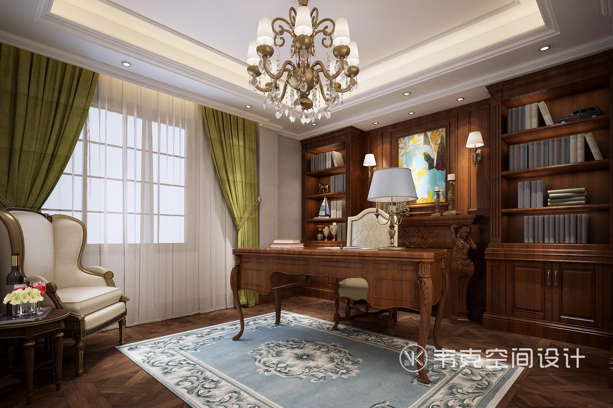 别墅 书房图片来自韦克空间设计在暖暖的古典美式,邂逅浪漫时光的分享
