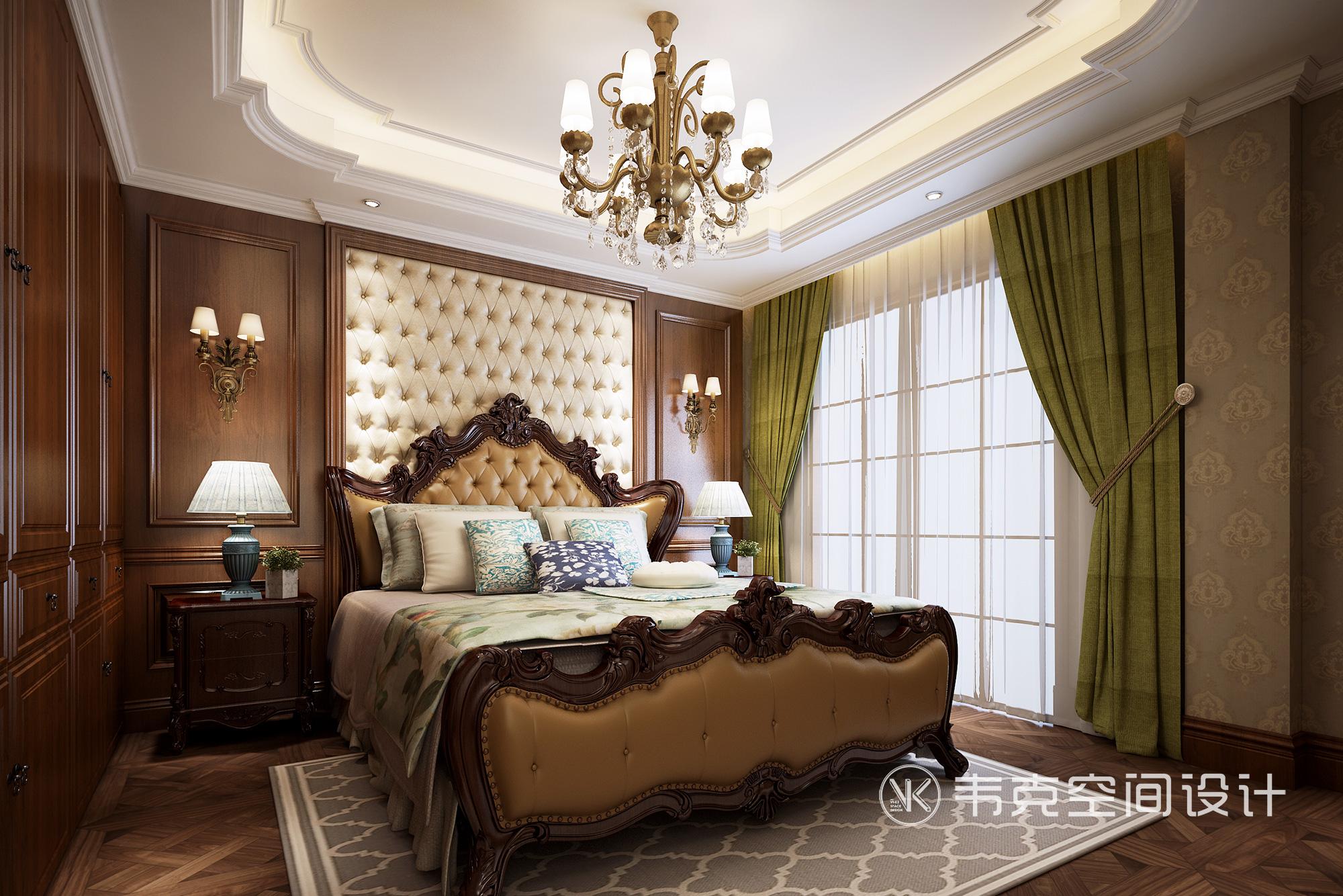 别墅 卧室图片来自韦克空间设计在暖暖的古典美式,邂逅浪漫时光的分享