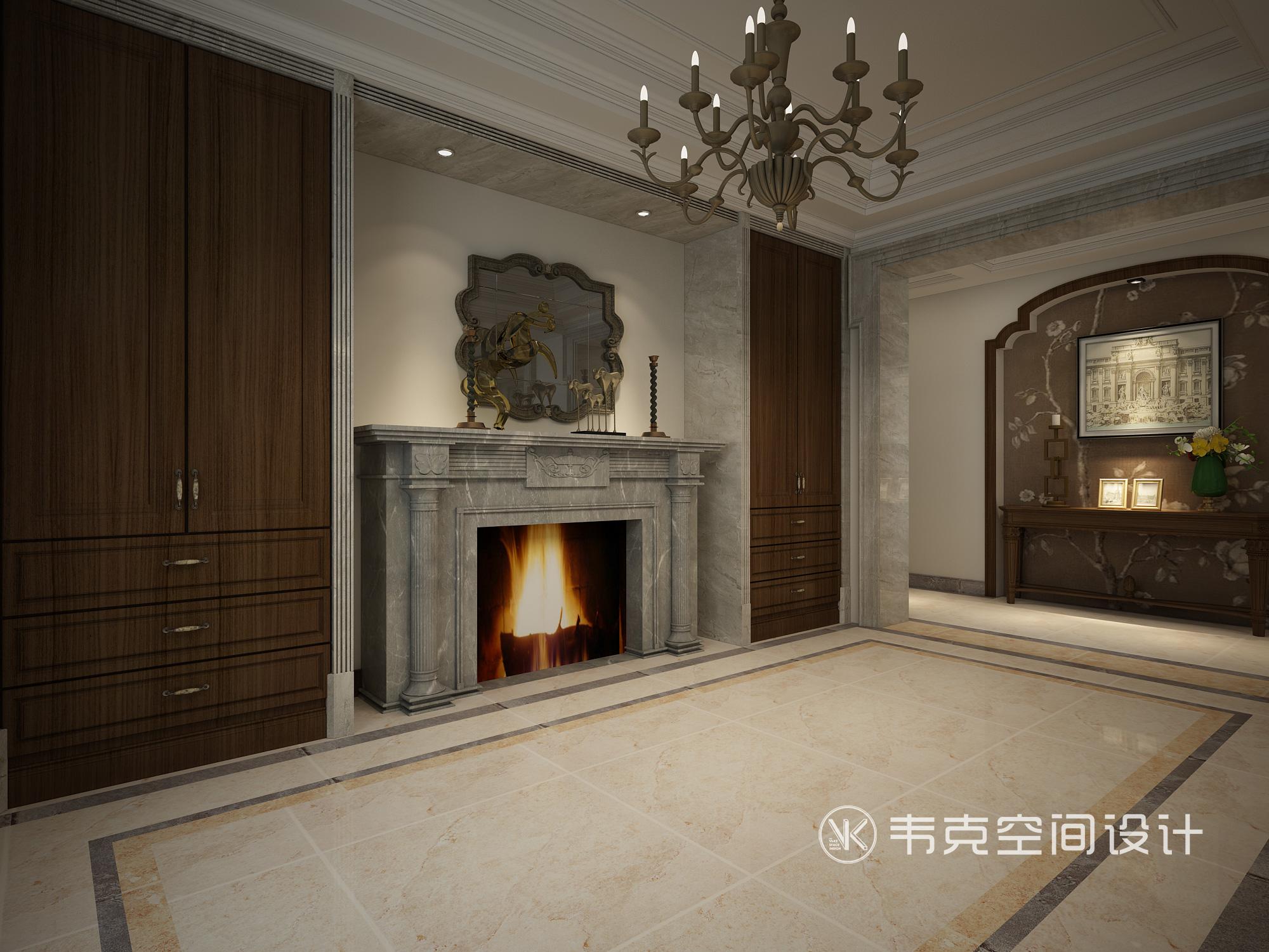 别墅 玄关图片来自韦克空间设计在暖暖的古典美式,邂逅浪漫时光的分享