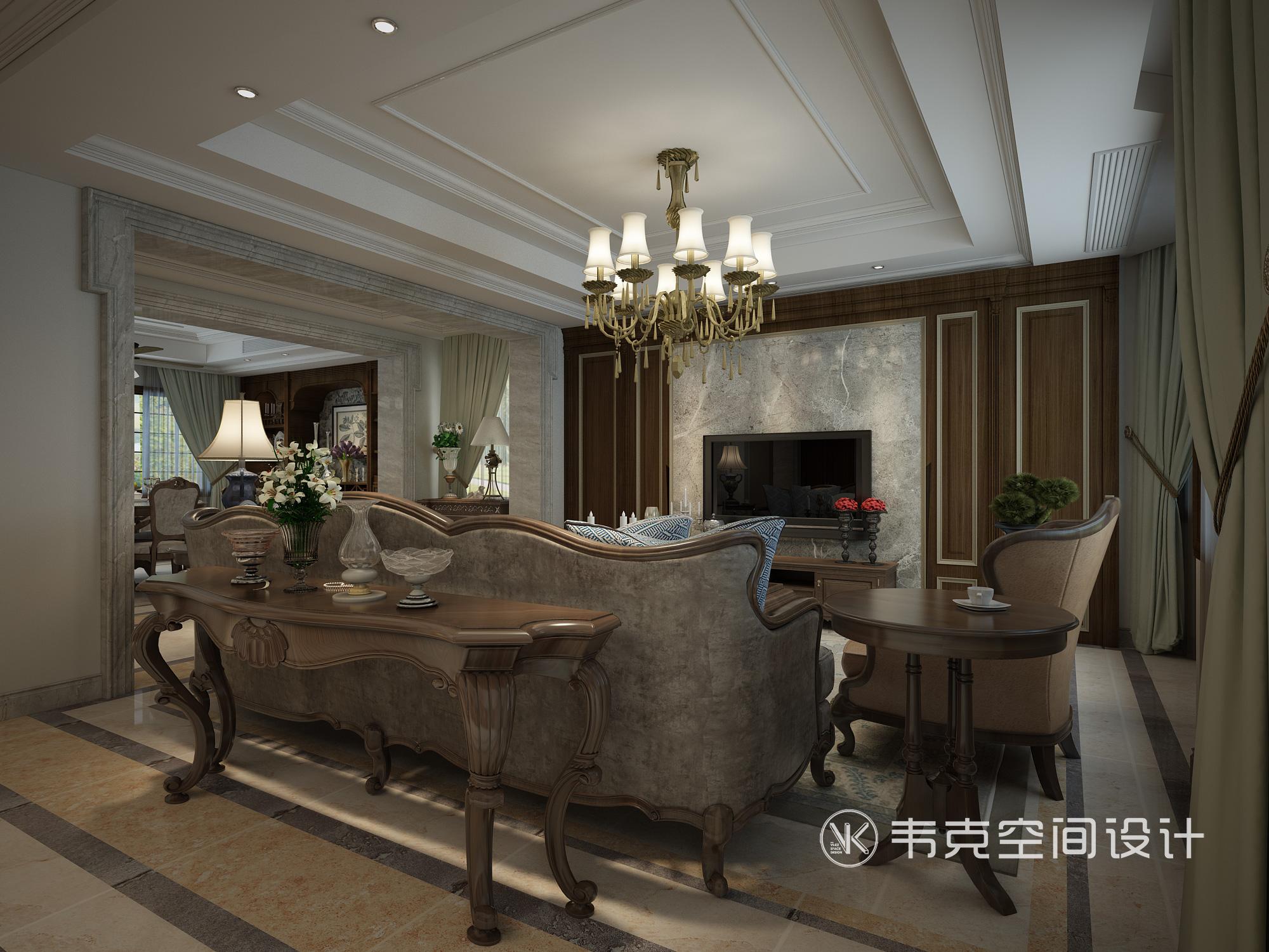 别墅 客厅图片来自韦克空间设计在暖暖的古典美式,邂逅浪漫时光的分享