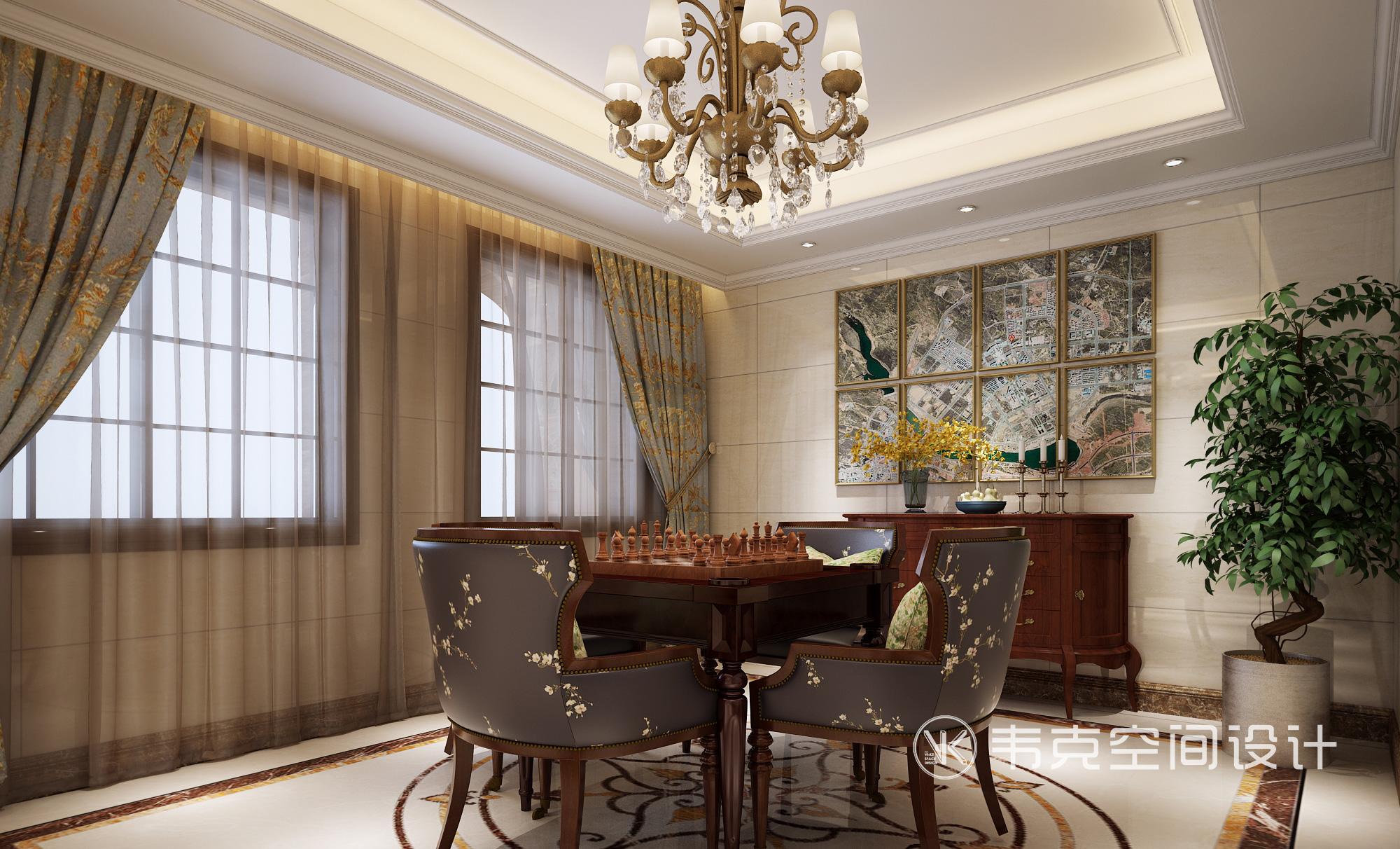 别墅 其他图片来自韦克空间设计在暖暖的古典美式,邂逅浪漫时光的分享